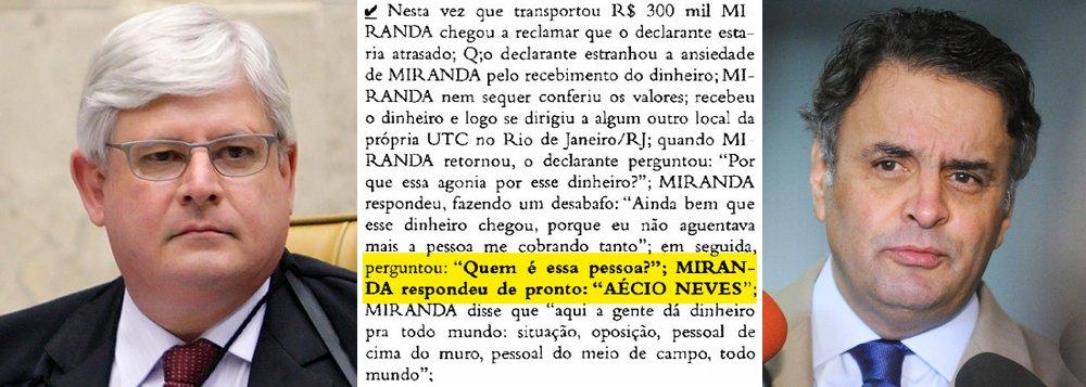 """Nesta quarta-feira, o senador Aécio Neves (PSDB-MG) apareceu pela segunda vez na Operação Lava Jato; na primeira, quando foi citado pelo doleiro Alberto Youssef como responsável pela montagem de um 'mensalão' em Furnas, durante o governo FHC, o procurador-geral Rodrigo Janot pediu o arquivamento do seu caso; agora, a denúncia é mais recente: um entregador de dinheiro de Youssef diz ter levado R$ 300 mil a um diretor da UTC, para que este depois repassasse a propina ao senador tucano, em 2013; agora, Janot, que prometeu bater """"tanto em Chico como em Francisco"""", poderá pedir um segundo arquivamento ou terá a oportunidade de esclarecer o caso ouvindo o """"Miranda da UTC"""", que mencionou o presidente nacional do PSDB"""