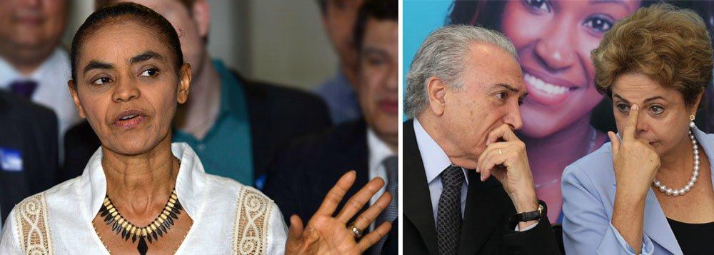 """Ex-senadora e ex-candidata à presidência afirma que a presidente Dilma Rousseff """"não tem mais a liderança política no País nem maioria no Congresso"""" e defende que """"o melhor caminho para o Brasil é o processo que está no TSE, porque teria a cassação da chapa com a comprovação de que o dinheiro da corrupção foi usado para a campanha do vice e da presidente""""; Marina Silva não defendeu o processo de impeachment que corre na Câmara, mas discordou que seja um golpe; """"Impeachment não é golpe"""""""