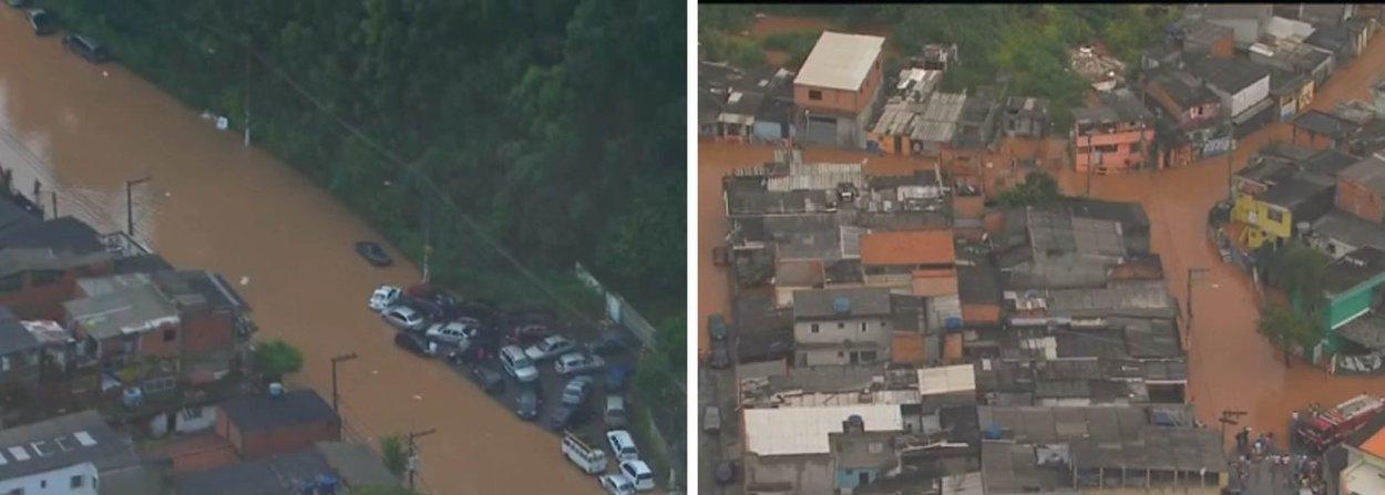 Forte chuva que atinge a cidade de São Paulo na tarde e início da noite desta sexta-feira, 1º, já fez quatro córregos transbordarem: o Córrego Aricanduva, na Zona Leste, Córrego Ribeirão Vermelho, em Pirituba, o Córrego Perus, em Perus, perto da saída do km 14 da Rodovia Anhanguera, e o Córrego do Lajeado, no Itaim Paulista;cidade de Osasco, na Grande São Paulo, registrou alagamentos em várias avenidas e carros ficaram encobertos pela água;Centro de Gerenciamento de Emergênciasinformou que durante a noite desta sexta-feira, novas áreas de instabilidade devem atingir a capital paulista
