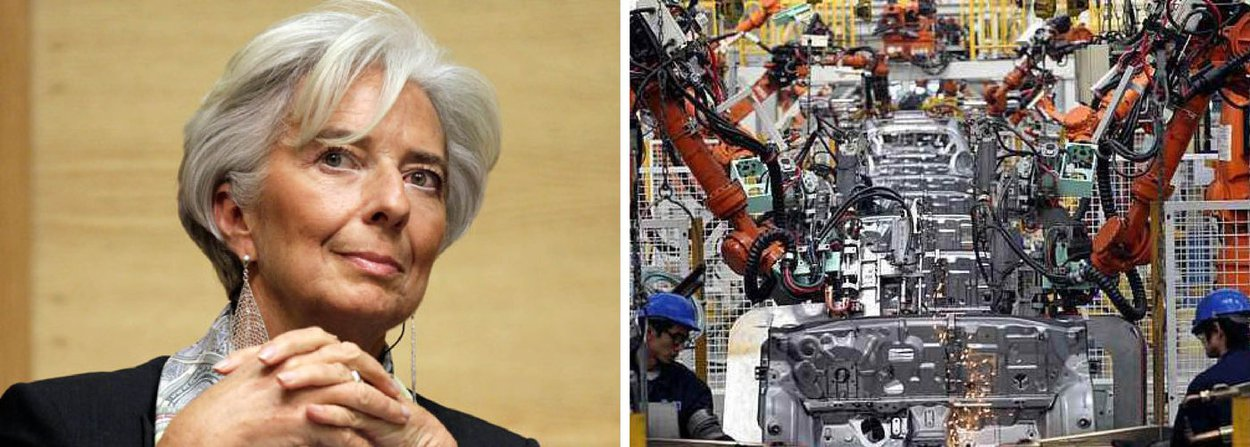 """Segundo previsão do Fundo Monetário Internacional (FMI), presidido por Christine Lagarde, a economia brasileira deverá encolher 3% até o final deste ano e, em 2016, terá uma queda de 1%; segundo o chefe do grupo de análises regionaisdo FMI, Marcello Estevão, o Brasil está """"no meio de uma recessão"""" e é necessário que o paísdê prosseguimento ao ajuste fiscal e implante umapolitica monetária que reduza a inflação"""