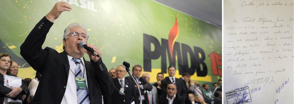 """A chapa """"PMDB para todos"""" liderada pelo ex-governador Orlando Pessuti protocolou desistência; com isso, apenas o senador Roberto Requião concorre ao comando do partido em chapa única; coube ao ex-deputado Reinhold Stephanes Júnior, presidente da legenda na capital, assinar a """"rendição"""" de próprio punho; """"A chapa [PMDB para todos] não participará da convenção do PMDB estadual do Paraná a ser realizada no dia 24/10, sábado"""", escreveu no documento que retira a inscrição realizada no último dia 16"""
