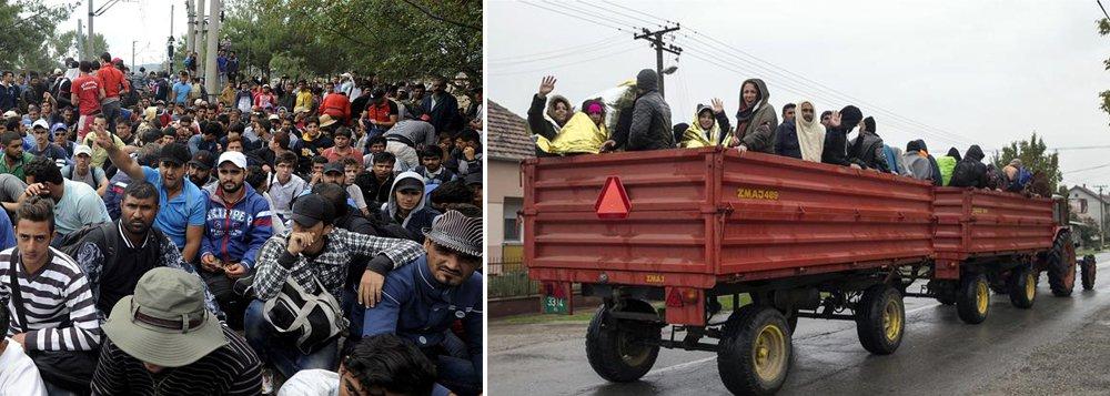 """Dez mil migrantes entraram na Macedônia em 24 horas; """"Desde a tarde de sábado até domingo às 18h, 10 mil migrantes foram registrados na Macedônia e o fluxo não diminuiu até à meia noite (20h em Brasília)"""", declarou a polícia macedônia; nova grande onda de refugiados na rota dos Balcãs pode provocar saturação mais ao Norte, na fronteira entre a Sérvia e a Croácia, e a Noroeste, entre a Croácia e a Eslovênia"""