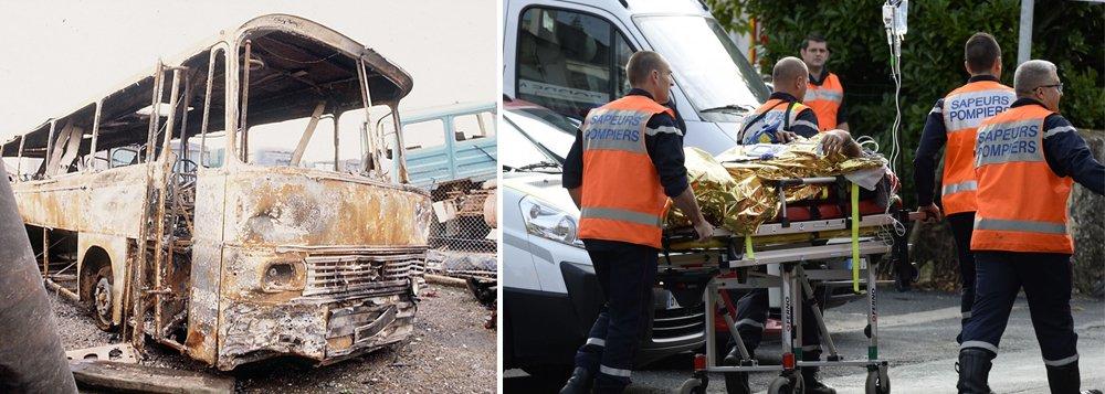 """Um ônibus e um caminhão bateram de frente e pegaram fogo próximo a Bordeaux nesta sexta-feira, de acordo com autoridades, no pior acidente rodoviário na França em décadas; outras cinco pessoas ficaram feridas na colisão, que aconteceu na região de Gironde; opresidente da França, François Hollande, falando em visita a Atenas, disse que foi """"mergulhado em tristeza pela tragédia"""""""