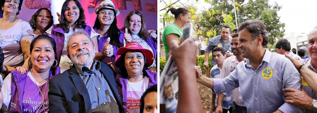 O ex-presidente Lula e o senador mineiro Aécio Neves ficariam tecnicamente empatados na Bahia se as eleições para a presidência da República fossem hoje; levantamento do Instituto Paraná Pesquisas aponta Aécio com 30,4% das intenções de voto dos baianos, contra 27,5% de Lula; com a margem de erro de três pontos percentuais para mais ou para menos, Lula e Aécio estariam empatados; em seguida aparece a ex-senadora Marina Silva, com 18,8%