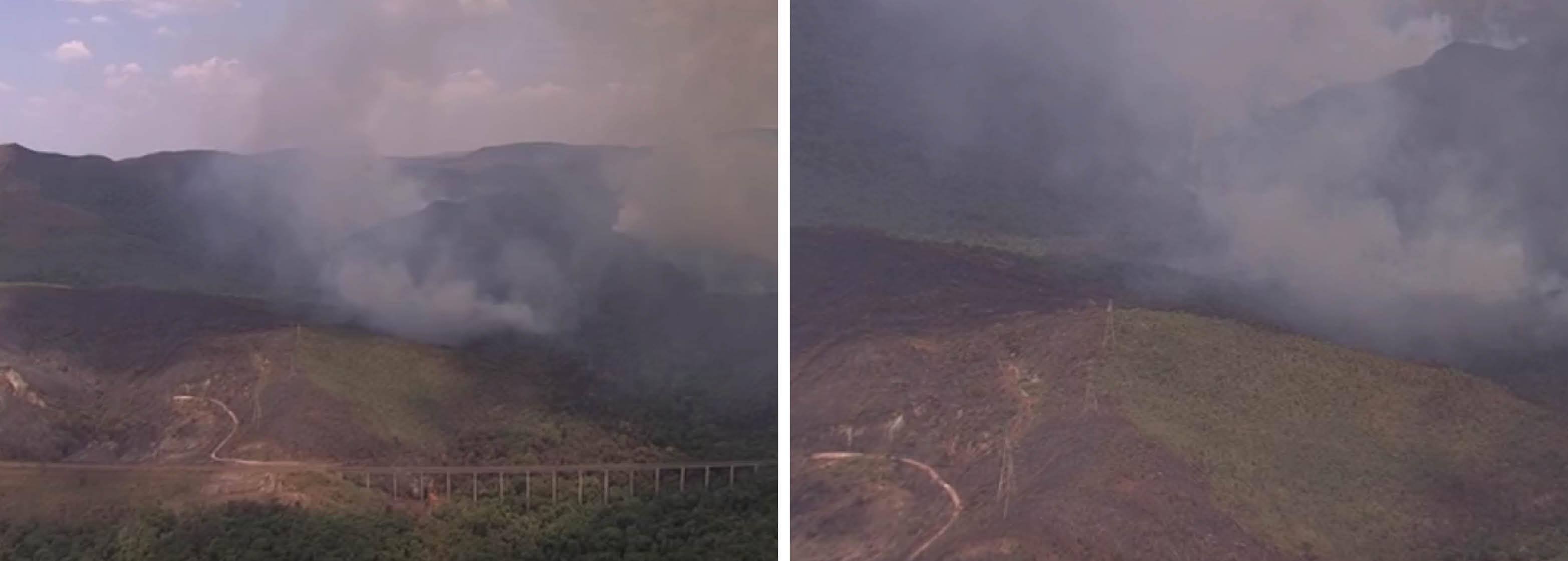 Já são quatro dias que um incêndio criminoso atinge o Parque Estadual da Serra do Rola-Moça, em Belo Horizonte; as chamas seguem descontroladas ; bombeiros passaram a noite na área de preservação tentando apagar as chamas; no início da manhã deste sábado (17) ganharam a companhia de brigadistas; um helicóptero foi deslocado para ajudar no combate