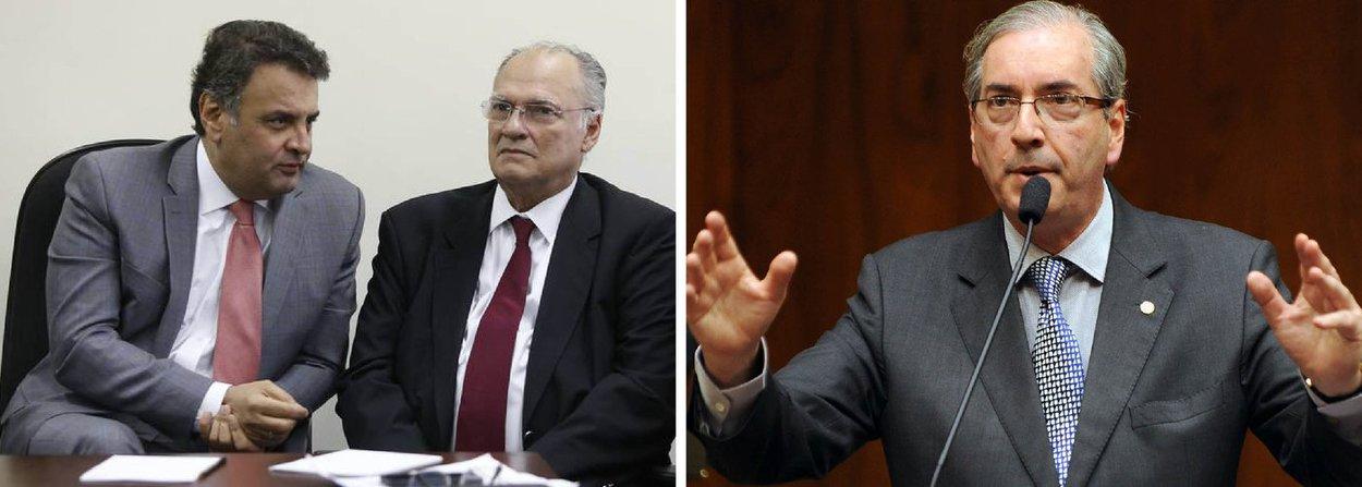 """A cara de paisagem da oposição em relação à situação do presidente da Câmara tem as digitais dos presidentes do PSDB, senador Aécio Neves, e do PPS, deputado Roberto Freire; em encontro com líderes oposicionistas, os dois conseguiram dissuadir os líderes Mendonça Filho (DEM), Carlos Sampaio (PSDB) e da minoria, Bruno Araújo (PSDB), de lançar uma segunda nota contra Cunha, classificando como """"gravíssimas"""" as denúncias vinda da Suíça; estratégia é poupar Cunha para estimulá-lo a aceitar o novo pedido de impeachment de Dilma"""