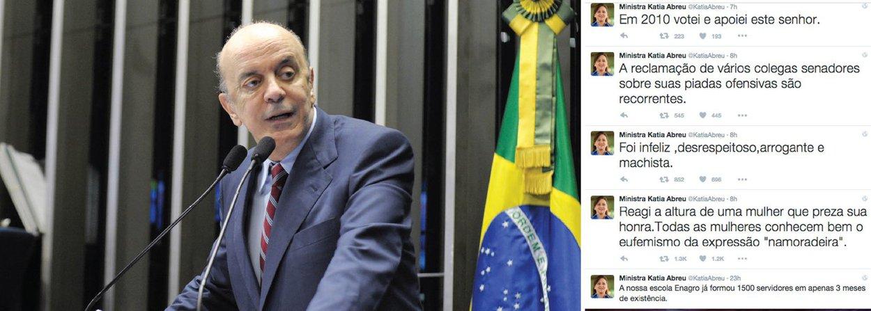 """Após a ministra da Agricultura, Kátia Abreu (PMDB), escrever no Twitter nesta quinta (10) que reagiu """"à altura"""" a um comentário sexista do senador José Serra (PSDB-SP) da qual foi alvo, o tucano disse, por meio de sua assessoria, que pediu desculpas à peemedebista por uma brincadeira """"elogiosa"""" que foi """"mal recebida"""" por ela; ele a chamou de """"namoradeira"""", que reagiu jogando vinho no senador; segundo ela, o ato de Serra foi """"infeliz, desrespeitoso, arrogante e machista""""; """"Fiz uma brincadeira elogiosa num clima de descontração, mas foi mal recebida. Pedi desculpas"""", respondeu ele"""