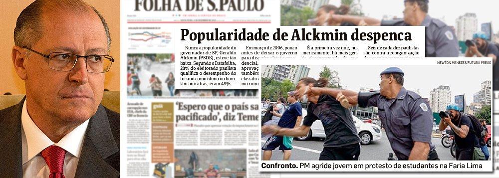 Se havia um projeto presidencial 'Alckmin 2018', ele acabou na tarde desta quinta-feira, quando um policial militar de São Paulo agrediu, com o punho cerrado, um estudante secundarista, como se pretendesse levar a nocaute o jovem que protestava pelo direito de ter uma educação pública de qualidade; se o paranaense Beto Richa era o governador tucano que batia em professores, Alckmin conseguiu ir além: é o governador que bate em alunos; não por acaso, a Folha de S. Paulo desta sexta-feira indica que sua aprovação despencou vinte pontos e é mais baixa da história; nem o recuo na 'reorganização educacional', nem um improvável pedido de desculpas poderão transformar Alckmin num candidato viável