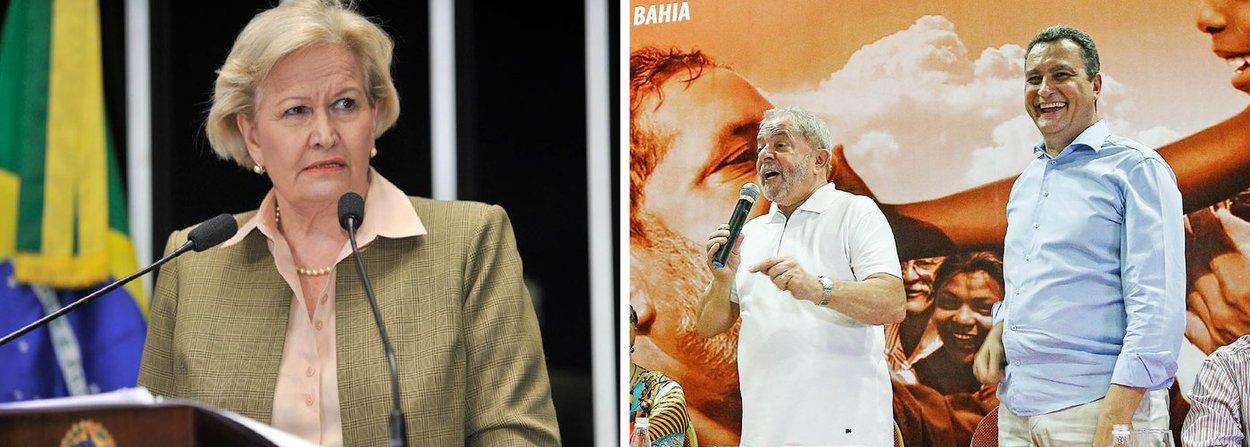 """A avaliação da senadora Ana Amélia (PP-RS) foi uma resposta ao ex-presidente Lula após o petista afirmar que """"o Brasil vive um quase estado de exceção""""; de acordo com a parlamentar, o país em estado de exceção é a Venezuela, onde o governo manda pessoas para a cadeia pelo simples fato de fazerem oposição ao governo de Nicolás Maduro; durante evento em Salvador, Lula disse que """"estamos vivendo um momento excepcional em que um cidadão é preso e tem a promessa de ser solto se ele delatar alguém""""; """"Aí ele passa a delatar até a mãe, se for o caso"""", afirmou; """"O dado concreto que estamos vivendo quase de um Estado de exceção"""""""