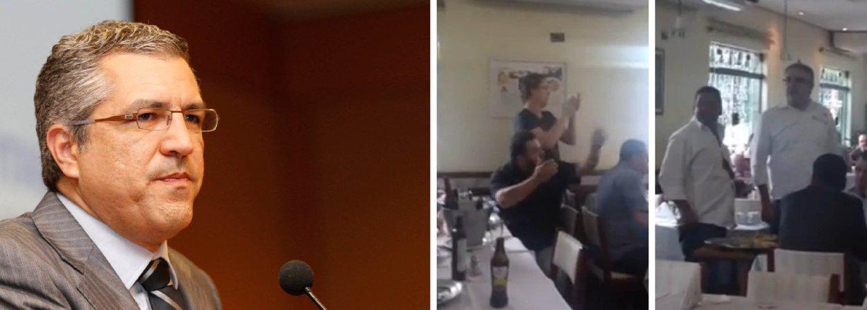 """Confusão começou porque o secretário municipal de Saúde de São Paulo, que vestia uma camisa da Prefeitura, tomou cerveja enquanto almoçava em um restaurante da capital paulista; um grupo começou a filmar e a tirar foto e, quando questionado por Alexandre Padilha sobre o motivo, passou a xingá-lo de """"ladrão"""" e a ofendê-lo"""