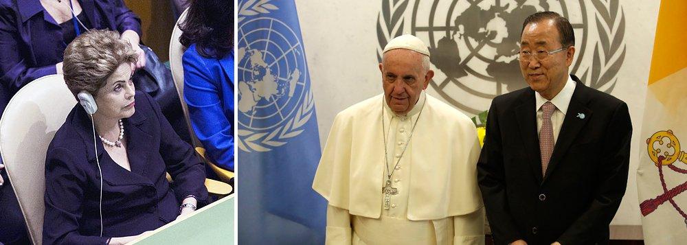 """O discurso do Papa Francisco nesta sexta-feira, 25, nas Nações Unidas, de que a reforma do Conselho de Segurança da ONUajudaria a """"limitar o abuso e a usura"""" dos países desenvolvidos sobre as outras nações"""" foi elogiado pela presidente Dilma; presidente disse que se surpreendeu positivamente com o fato de o Pontífice ter entrado de maneira tão """"contundente"""" na discussão do tema;""""Foi uma fala ótima"""", afirmou"""