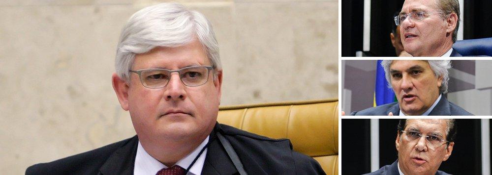 Procurador-geral da República, Rodrigo Janot, pediu nesta segunda-feira 30 ao Supremo Tribunal Federal a abertura de duas novas investigações no âmbito da Operação Lava Jato contra o presidente do Senado, Renan Calheiros (PMDB-AL), osenador Delcídio Amaral (PT-MS), preso na semana passada, e o senador Jader Barbalho (PMDB-PA); no segundo inquérito, Janot pede apurações sobre Renan, Jader e sobre o deputado Aníbal Gomes (PMDB-CE); parlamentares devem ser investigados por corrupção passiva e lavagem de dinheiro;apenas Barbalho não havia sido incluído em nenhuma investigação da Lava Jato