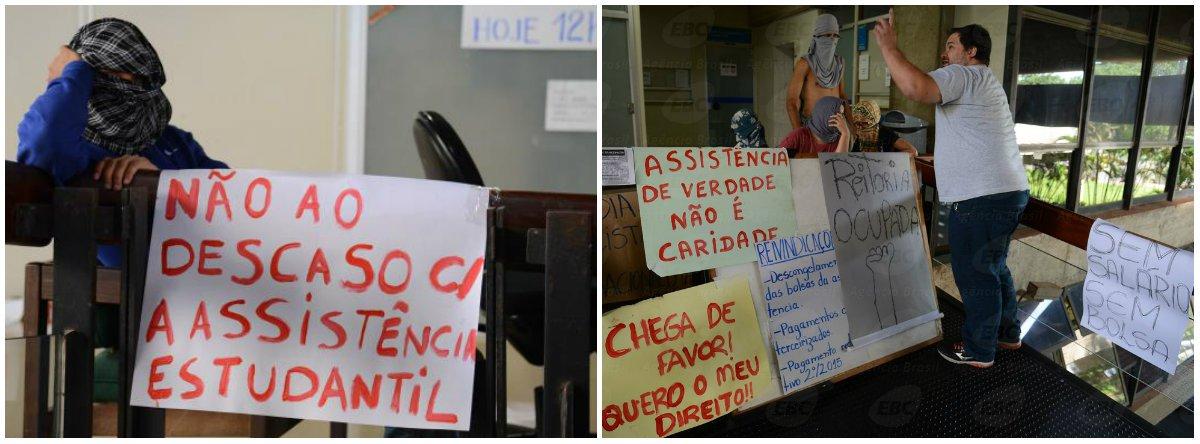 Alunos da Universidade de Brasília (UnB) ocupam a reitoria da instituição em protesto contra atrasos no pagamento das bolsas de assistência estudantil e no pagamento de terceirizados; cerca de vinte alunos passaram no gabinete do reitor, no último andar da reitoria; os manifestantes permanecem encapuzados e bloqueando a entrada da reitoria; a UnB informou que cerca de 2 mil alunos recebem bolsa de assistência estudantil; o valor de cada uma é de cerca R$ 400