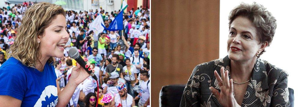 """Carina Vitral posiciona a UNE do lado da democracia: """"A UNE tem lado. Procure pelo golpe, pela chantagem e pela mentira daqueles que não gostam das regras do jogo e estaremos sempre na direção oposta. As ruas derrotarão o impeachment. A começar pelo próximo dia 16 de dezembro, data em que os movimentos sociais tomarão as ruas contra o golpe, em defesa da democracia e do Brasil"""""""