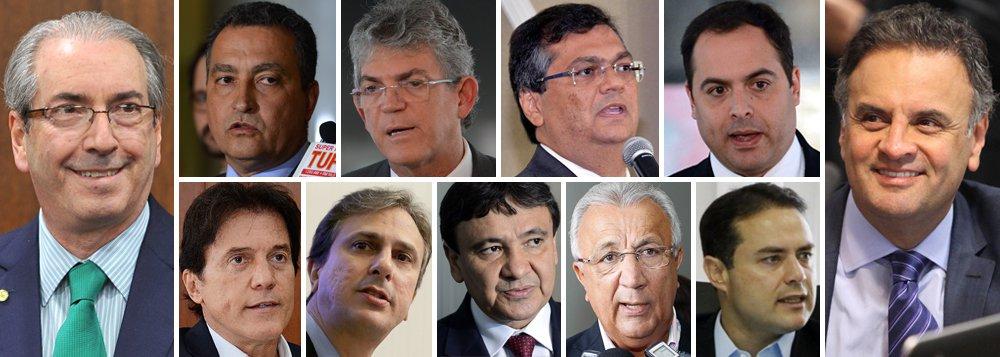 """De forma unânime, os governadores do Nordeste contestaram a tese de impeachment lançada por Eduardo Cunha, réu por corrupção e lavagem de dinheiro, com apoio do tucano Aécio Neves, derrotado nas últimas eleições; em nota, os governadoresRui Costa (PT–BA), Ricardo Coutinho (PSB–PB),Flávio Dino (PCdoB–MA),Paulo Câmara (PSB–PE), Robinson Farias (PSD–RN), Camilo Santana (PT–CE), Wellington Dias (PT–PI), Jackson Barreto (PMDB–SE) e Renan Filho (PMDB–AL) manifestam repúdio ao que chamam de """"absurda tentativa de jogar a Nação em tumultos derivados de um indesejado retrocesso institucional"""""""