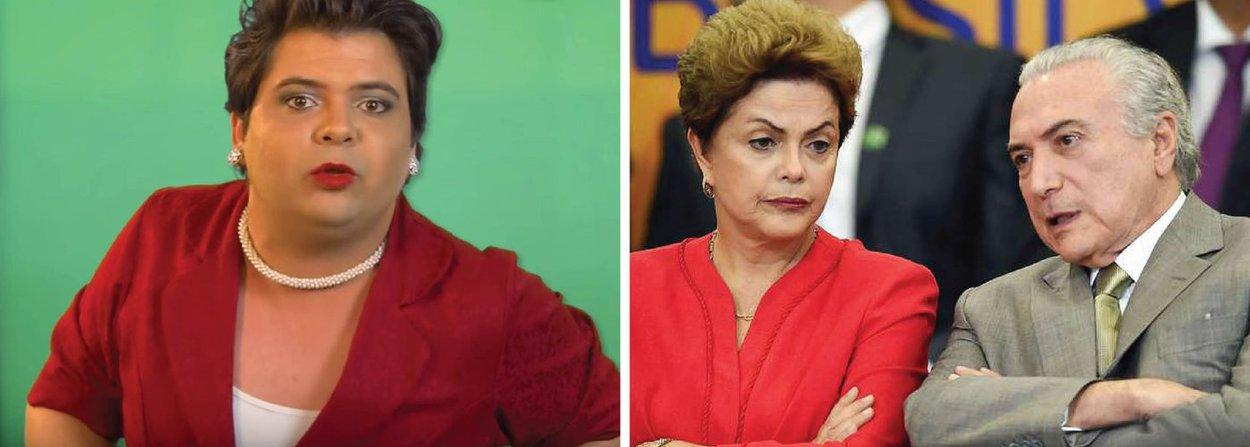 "Num vídeo impagável, o humorista Gustavo Mendes diz a Michel Temer o que a presidente Dilma Rousseff gostaria de ter dito depois de ter recebido a ""carta secreta"" que vazou para o Brasil inteiro; assista"
