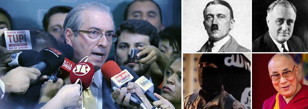 """""""Cunha acusar Dilma é, como já se disse alhures, um sujeito acusado de tudo acusar uma presidente acusada de nada. É como se o Estado Islâmico acusasse o Dalai Lama de terrorismo. É como se Hitler acusasse Roosevelt de genocídio. É como se Judas acusasse Jesus Cristo de traição. É uma total e surreal inversão de valores"""""""