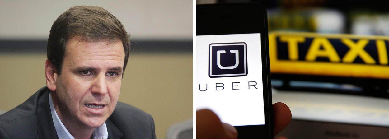 """Prefeito do Rio, Eduardo Paes afirmou que o Executivo municipal vai manter os carros do Uber ilegais na capital fluminense; """"O Uber é proibido. Estamos receptivos para discutir o assunto, mas é proibido. Vamos buscar, cada vez mais, qualificar o serviço de transporte individual da cidade"""", disse Paes, durante uma visita ao Complexo de Deodoro, na Zona Norte"""