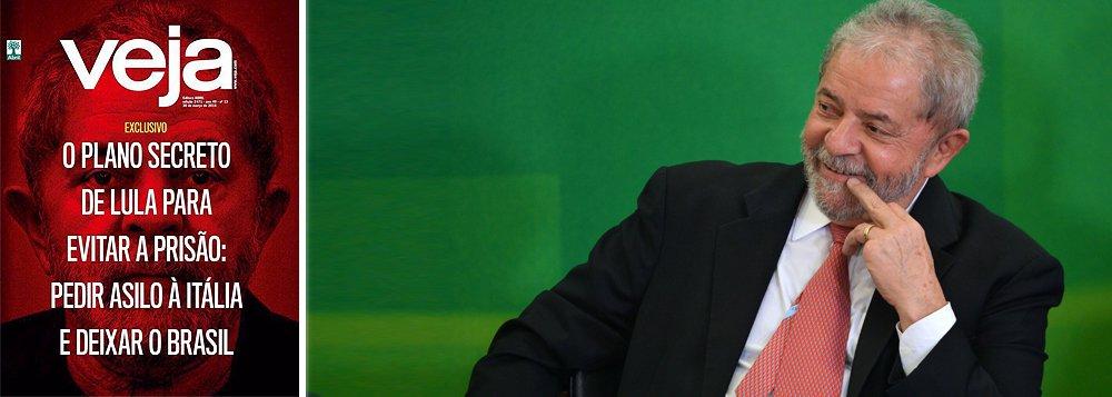 """O ex-presidente Lula rebateu a reportagem de capa desta semana da revista Veja, que o acusa de planejar asilo político na Itália; """"Não satisfeita em virar piada no Brasil, Veja resolveu passar vergonha em escala internacional. Fez uma reportagem de capa fantasiosa, para dizer o mínimo, e inventou que o ex-presidente Lula estaria planejando fugir para a Itália para evitar ser preso, com a ajuda da embaixada daquele país"""", publicou Lula no Facebook; a embaixada da Itália também já se pronunciou negando o teor da reportagem"""
