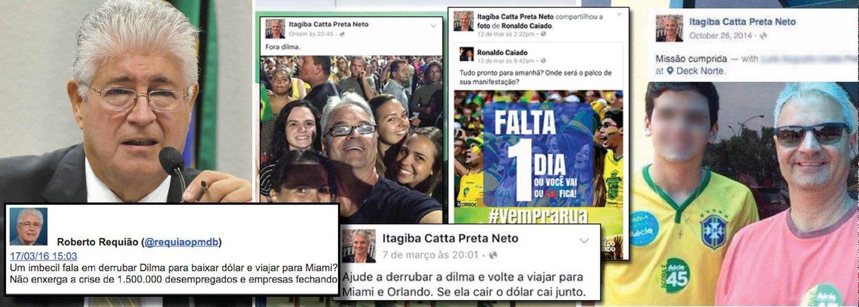 """""""Um imbecil fala em derrubar Dilma para baixar dólar e viajar para Miami? Não enxerga a crise de 1.500.000 desempregados e empresas fechando"""", postou o senador Roberto Requião (PMDB-PR), fazendo referência ao juiz Itagiba Catta Preta, que, ontem, tentou impedir a posse do ex-presidente Lula na Casa Civil"""