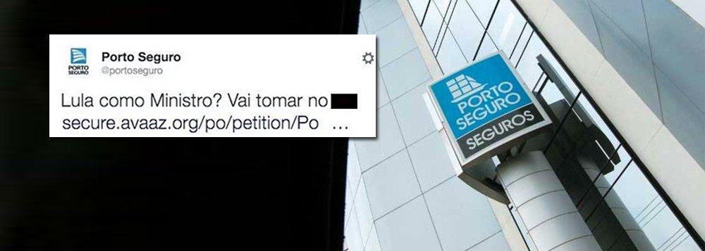 """Com o anúncio do ex-presidente Lula como ministro-chefe da Casa Civil do governo Dilma, uma mensagem ofensiva contra o petista foi publicada no perfil da seguradora no microblog: """"Lula como Ministro? Vai tomar no cu."""", dizia o tweet, seguindo-se um link para uma petição do Avaaz; internautas reagiram e a publicação foi apagada momentos depois"""