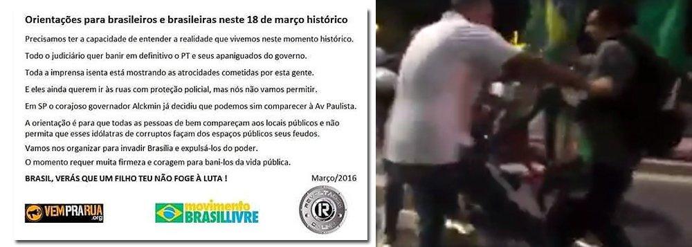 """Em 'manual de orientação' a manifestantes, contra o ato organizado pelo PT, em apoio ao governo e ao ex-presidente Lula, movimentos contra Dilma Rousseff estimulam a violência: """"a orientação é para que todas as pessoas de bem compareçam aos locais públicos e não permita que esses idólatras de corruptos façam dos espaços públicos seus feudos. Vamos nos organizar para invadir Brasília e expulsá-los do poder"""", diz trecho"""