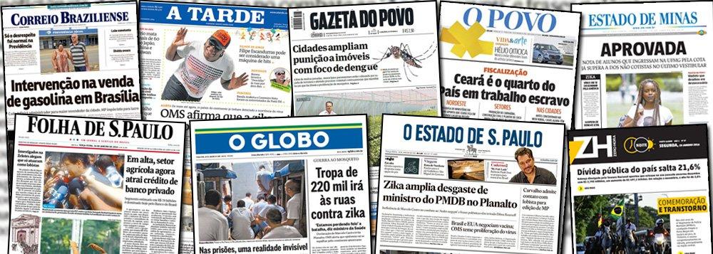 O IVC, que mede a circulação dos jornais brasileiros, divulgou os dados de audiência de publicações como Folha, Globo, Estado de S.Paulo, Estado de Minas e Correio Braziliense, em 2015; os números revelam que o consumo de informação por esses meios desabou ao longo do ano passado, e não apenas nas edições impressas, como também no digital; uma das explicações para o tombo é a expansão da internet; uma segunda é o modelo de cobrança por conteúdo, que tem pouca receptividade no Brasil; e uma terceira razão pode ser o engajamento político dessas publicações, que optaram por uma agenda extremamente negativa nos últimos anos; Folha caiu 15,1%; Estado 8,9% e Globo 5,5%