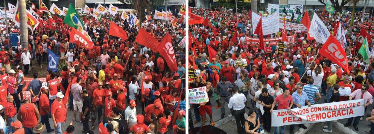 Milhares de manifestantes participaram do ato em favor do governo da presidente Dilma Rousseff e em defesa do ex-presidente Lula, nesta sexta-feira (18), em Aracaju; movimentos sociais, entidades e lideranças locais do PT rebateram a possibilidade de impeachment de Dilma e denunciaram o golpe; mais de 20 mil pessoas estiveram na manifestação, que ocorreu no Centro da cidade