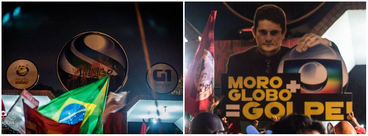 """""""Nós, do Levante Popular da Juventude, deixamos marcado na faixada da TV Sergipe o recado de que não esquecemos o que a Rede Globo e suas filiais fizeram durante a ditadura e que não permitiremos que isto se repita"""", diz o texto de Laryssa Sampaio, doLPJ; """"Derramamos tinta vermelha simbolizando o sangue de todas e todos aqueles que lutaram e morreram contra a ditadura e em defesa da democracia e de uma outra sociedade""""; a entidade critica o golpe contra o governo Dilma e afirma que a juventude tem o papel de denunciar quem são os """"inimigos"""" do povo"""