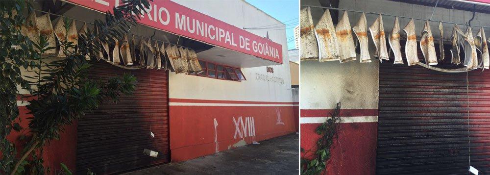 """Dirigentes da sigla suspeitam de """"ataque terrorista"""" de grupos que pedem o impeachment da presidente Dilma Rousseff; o incêndio atingiu a fachada do imóvel, que fica a poucos metros do local de concentração de ato pró Dilma convocado para esta sexta-feira (18) na capital goiana; PM foi acionada para verificar se há danos na parte interna"""