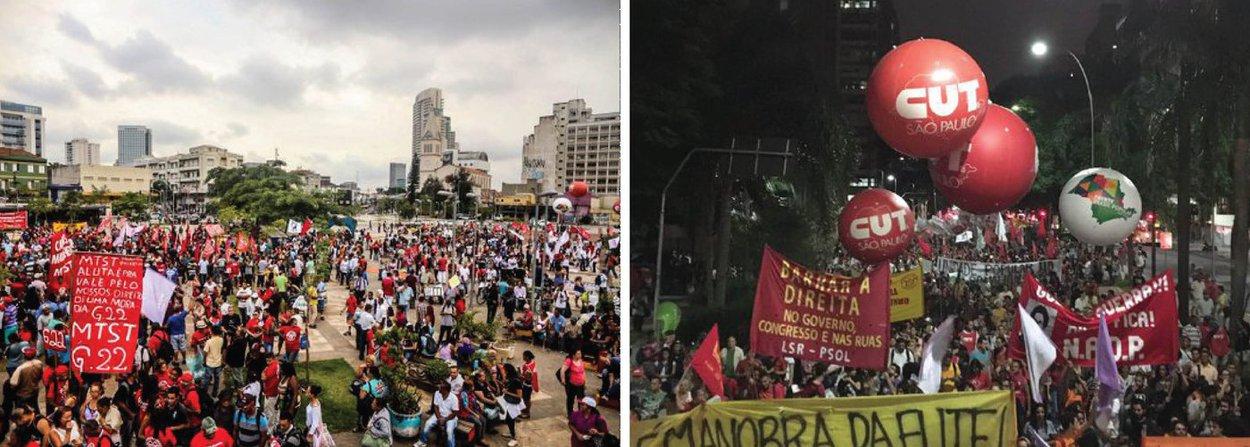 """O """"Ato em defesa da democracia - A saída é pela esquerda"""" ocorre em São Paulo nesta quinta (24) e reúne, segundo os organizadores, 30 mil pessoas; o protesto se dirigiu para a sede da Rede Globo, em São Paulo; o presidente nacional do PT, Rui Falcão, que participa do protesto, destacou que """"muita gente de vários setores sociais estão lutando contra o golpe""""; o líder do Movimento dos Trabalhadores Sem Teto, Guilherme Boulos, disse em discurso que o objetivo do protesto é """"deter uma ameaça à democracia e às garantias constitucionais"""""""