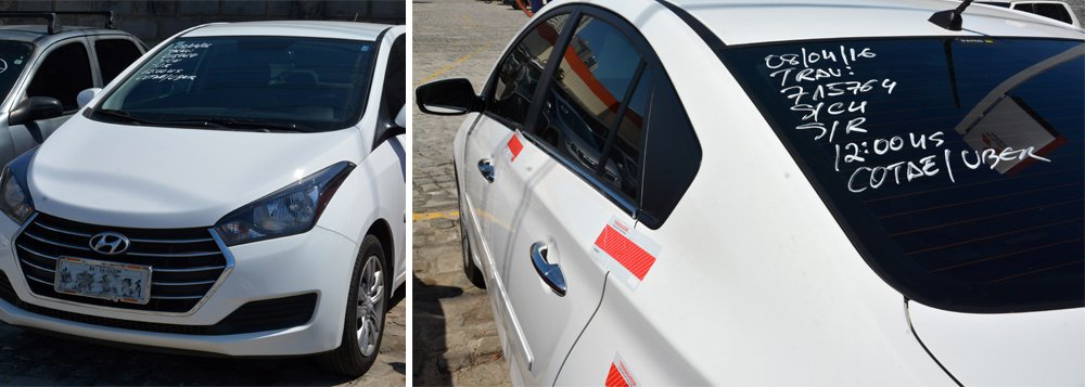 A Secretaria de Mobilidade apreendeu nesta sexta-feira um veículo que fazia 'transporte clandestino' pelo serviço de transporte privado Uber; o veículo, um HB20 Sedan, foi detido pelos fiscais em operação contra os clandestinos na região do Dique do Tororó; o veículo foi encaminhado ao pátio da Transalvador na Avenida Barros Reis após liberação do passageiro; a multa pela atuação de transporte clandestino é de R$ 240,50; e, além disso, o motorista paga multa pela remoção do veículo, que varia de R$ 309,27 a R$ 804,09, e diária no pátio da Transalvador, que vai de R$ 49,48 a R$ 841,21