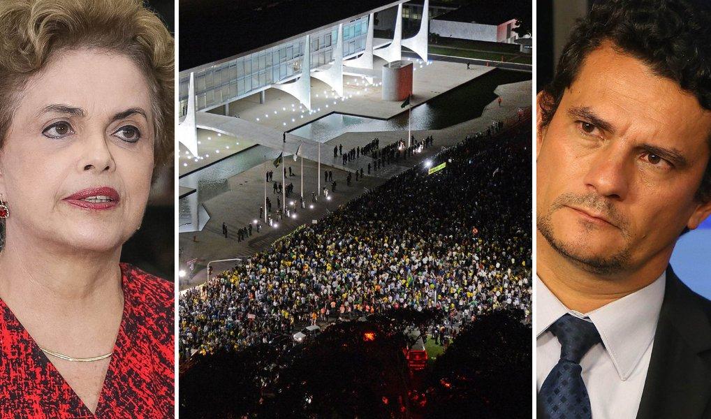 Gravação entre a presidente Dilma Rousseff e o ex-presidente Lula foi realizada pela Polícia Federal duas horas depois de o juiz Sergio Moro ter determinado o fim das interceptações contra Lula; ainda assim, o juiz Sergio Moro decidiu divulgá-las à imprensa nesta tarde; defesa de Lula alega que Moro tentou criar um clima de convulsão social no Brasil; presidente Dilma Rousseff afirma que Moro afrontou a lei e será processado; ex-presidente da OAB, advogado Marcelo Lavanére prepara representação judicial contra Moro