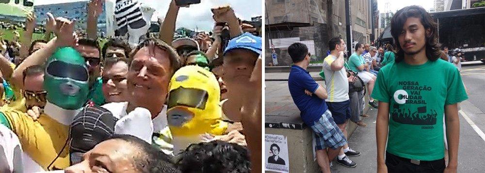"""O """"porta-voz da juventude"""" Kim Kataguiri e Jair Bolsonaro se uniram ontem, um com um artigo na Folha e outro posando para fotos, em Brasília, na idade mental de adoradores dos Power Rangers; """"Este é o grau de indigência intelectual que vai se tornando dominante nas manifestações da direita"""", escreve o jornalista Fernando Brito, do Tijolaço"""