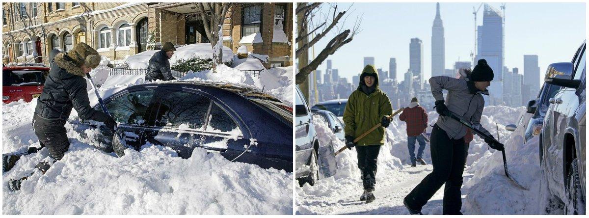 Washington continuava inacessível depois de uma tempestade de neve que paralisou o nordeste dos Estados Unidos, matando 19 pessoas; a tempestade foi a segunda maior na história de Nova York, com 68 centímetros de neve no Central Park à meia-noite de sábado