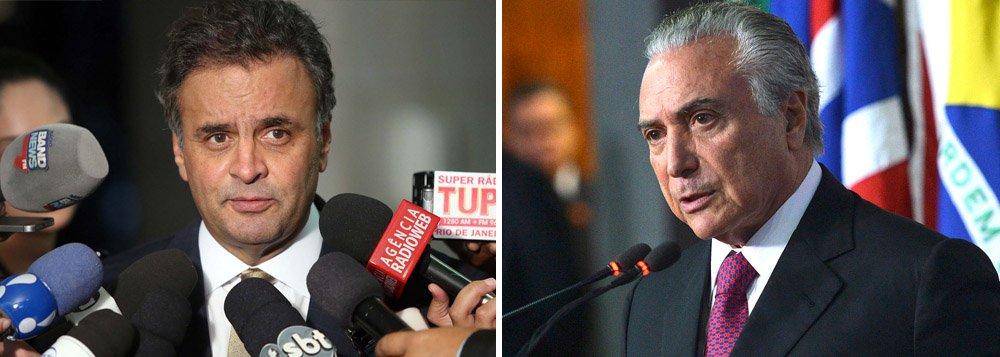 """Principal responsável pela crise política, o senador Aécio Neves (PSDB-MG), que fez com que o País mergulhasse no caos ao não aceitar o resultado das urnas e aliar-se ao deputado Eduardo Cunha (PMDB-RJ) para que este levasse adiante o golpe, ele agora se vê reboque do PMDB e diz ter """"esperança"""" no sucesso de um eventual governo Michel Temer; """"Nós, do PSDB, estaremos discutindo com o presidente Michel, se ele vier a assumir a Presidência da República, em torno de um programa"""", diz ele"""