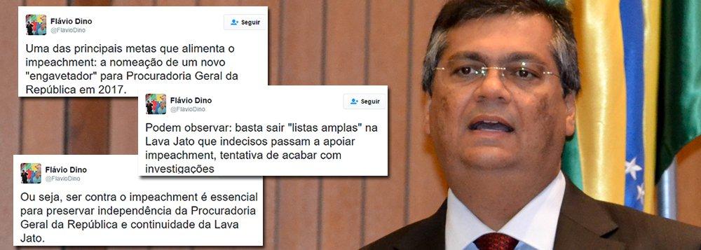 """Um dos críticos mais ferrenhos do golpe contra a presidente Dilma, o governador do Maranhão, Flávio Dino (PCdoB), afirmou que """"uma das principais metas que alimenta o impeachment é a nomeação de um novo 'engavetador' para a Procuradoria Geral da República em 2017""""; """"Podem observar: basta sair 'listas amplas' na Lava Jato que indecisos passam a apoiar impeachment, tentativa de acabar com investigações"""", postou no Twitter; Dino ressaltou que ser """"contra o impeachment é essencial para preservar independência da Procuradoria Geral da República e continuidade da Lava Jato"""""""