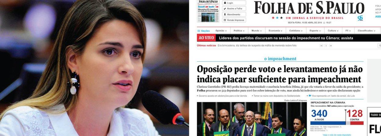 Democracia começa a virar o jogo contra a maré golpista; Folha de S. Paulo, que dava o golpe como favas contadas, acaba de reconhecer que a oposição não tem mais os votos suficientes para aprovar o pedido de impeachment da presidente Dilma Rousseff; uma das parlamentares que não irá votar é Clarissa Garotinho (PR-RJ),que solicitou nesta sexta o início de sua licença-maternidade; o vice-líder da Câmara, Waldir Maranhão (PP-MA) também mudou de posição hoje e agora é contra o impedimento de Dilma; mais cedo, o 247 noticiou que mais de 50 deputados, de olho nas eleições municipais deste ano, deverão se ausentar da votação do domingo (17)