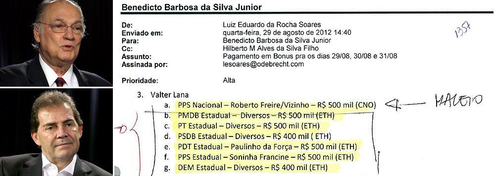 Documento apreendido pela Polícia Federal revela que alguns dos principais articuladores do impeachment da presidente Dilma Rousseff, como os deputados Roberto Freire (PPS-PE) e Paulinho da Força (SDD-SP), também aparecem na lista de pagamentos da Odebrecht; os partidos de ambos, PPS e Solidariedade, receberam bônus da empreiteira; Freire, cujo nome aparece ao lado do valor de R$ 500 mil, afirma que as doações recebidas pelo PPS foram legais; pagamentos da Odebrecht, no entanto, foram feitos por meio de uma distribuidora de bebidas; o partido diz que imaginava que os recursos vinham da construtora