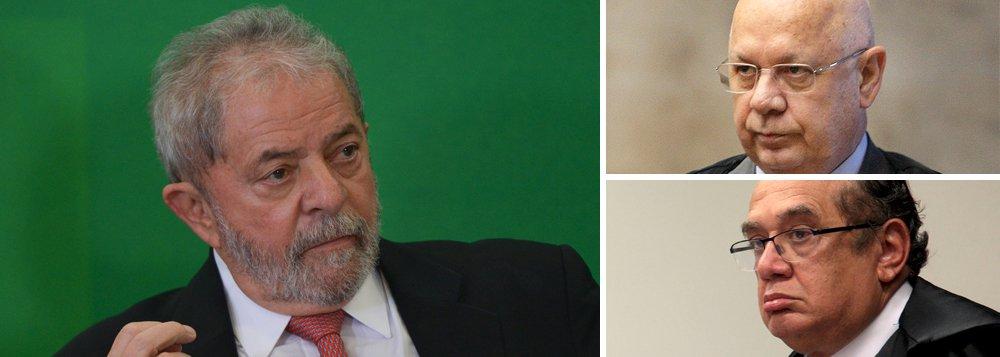 Advogados do ex-presidente Lula ingressaram com ação no Supremo Tribunal Federal (STF), solicitando que o ministro Teori Zavascki reafirme sua competência para analisar as ações contra Lula remetidas ao STF no último dia 16, após o juiz Sérgio Moro declinar de fazê-lo; Roberto Teixeira e Cristiano Zanin afirmam que não cabia ao ministro Gilmar Mendes, ao analisar as ações do PSDB e do PPS, definir o órgão competente para dar continuidade às investigações que procuram envolver o ex-presidente; na sexta-feira, já havia sido pedido a Teori Zavascki providências para preservar o sigilo das gravações decorrentes de interceptações telefônicas, como estabelece a lei; ministro Gilmar Mendes suspendeu a posse do ex-presidente Lula e remeteu a ação contra o ex-presidente para o juiz Sérgio Moro