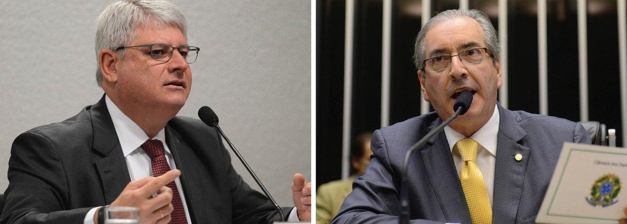 """Procurador-geral da República, Rodrigo Janot, entregou ao Supremo Tribunal Federal (STF) um documento listando onze atos que o levaram a pedir o afastamento do presidente da Câmara, Eduardo Cunha (PMDB-RJ); segundo o procurador-geral, a saída de Cunha do cargo é considerada """"necessária e imprescindível""""; defesa do parlamentar, porém, também encaminhou uma petição ao STF alegando que as razões citadas por Janot """"são todas impertinentes"""" e que nem mesmo foram comprovadas """"mediante prova idônea"""""""