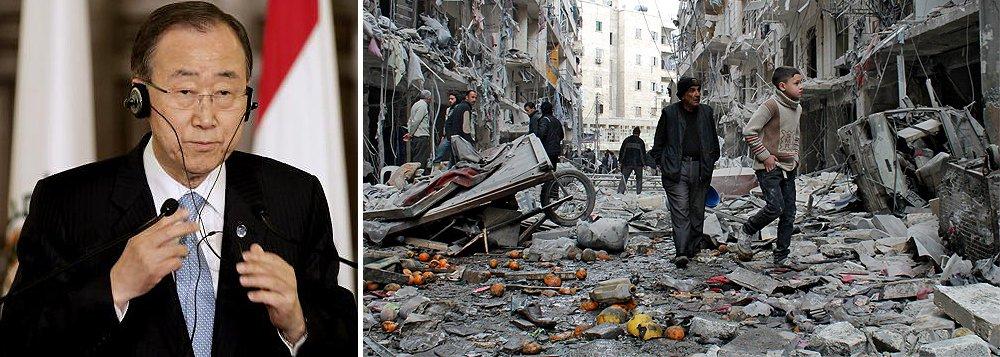 """""""É tempo de acabar com a violência [na Síria], de pôr fim às injustiças e de dar às pessoas a oportunidade para construírem uma vida melhor"""", disse Ban Ki-moon, durante coletiva de imprensa. O secretário-geral da ONU faz uma visita de dois dias ao Líbano; """"As Nações Unidas não pouparão esforços para pôr fim ao conflito na Síria nem para chegar a um acordo de paz justo e duradouro no Oriente Médio"""", afirmou aos jornalistas"""