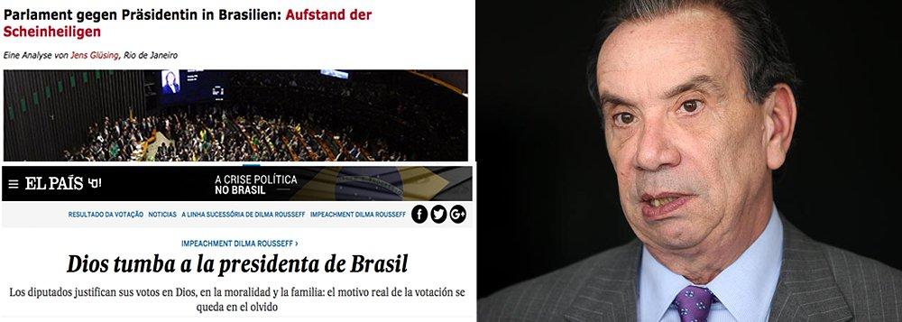"""""""Muitos na esquerda brasileira acreditam que os EUA estão planejando ativamente a instabilidade atual no país com o propósito de se livrar de um partido de esquerda que se apoiou fortemente no comércio com a China, e colocar no lugar dele um governo mais favorável aos EUA que nunca poderia ganhar uma eleição por conta própria. Embora não tenha surgido nenhuma evidência que comprove essa teoria, uma viagem aos EUA, pouco divulgada, de um dos principais líderes da oposição brasileira deve provavelmente alimentar essas preocupações"""", diz o siteThe Intercept, do jornalista Glen Greenwald"""