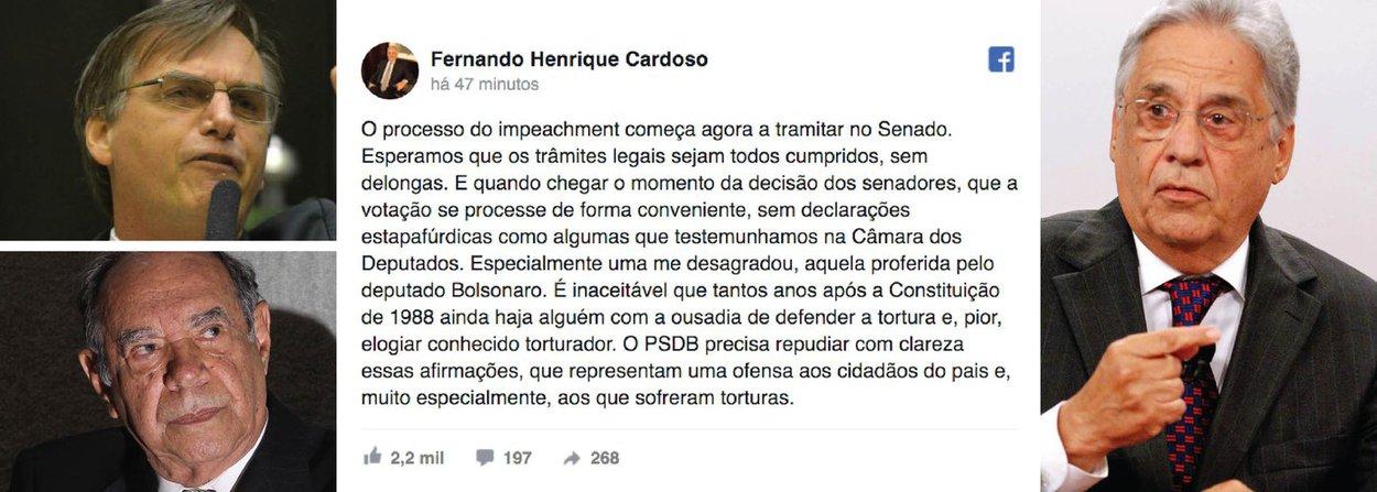 """Ex-presidente Fernando Henrique Cardoso pediu que o seu partido, o PSDB, """"repudie com clareza"""" a declaração do deputado federal Jair Bolsonaro (PSC-RJ) que homenageou o coronel Carlos Alberto Brilhante Ustra, acusado de praticar torturas contra presos políticos durante a ditadura militar;O PSDB precisa repudiar com clareza essas afirmações, que representam uma ofensa aos cidadãos do país e, muito especialmente, aos que sofreram torturas"""", escreveu FHC no Facebook; """"É inaceitável que tantos anos após a Constituição de 1988 ainda haja alguém com a ousadia de defender a tortura e, pior, elogiar conhecido torturador"""", completou"""