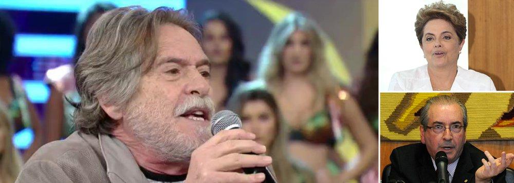"""Ao vivo no Domingão do Faustão, o ator chamou de """"golpe"""" o processo de impeachment contra a presidente Dilma Rousseff, """"eleita com 54 milhões de votos""""; José de Abreu destacou que o vice Michel Temer já foi citado quatro vezes na Lava Jato e lembrou que o principal condutor do processo é corrupto; """"Pode tudo, só não pode juiz ladrão. Onde já se viu o Cunha ser juiz da Dilma?"""", questionou; sobre o episódio no restaurante em São Paulo, onde cuspiu em um casal que o ofendeu e a sua mulher, indagou: """"por que nós não podemos conviver pacificamente nesse país pensando diferente?"""""""