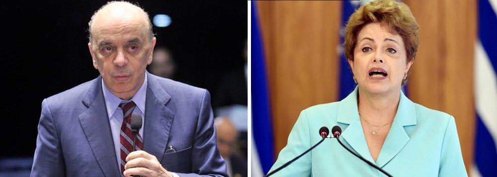 """Senador tucano José Serra aponta o governo Michel Temer como o caminho para """"restabelecer a estabilidade política e enfrentar a crise"""" e diz que a permanência de Dilma seria uma tragédia: """"É hora de a presidente encarar as duas tragédias que a espreitam: salvar-se, mantendo o País acorrentado na desesperança; ou deixar o mandato, criando a possibilidade de que o Brasil, com alguma sorte e juízo de suas lideranças, consiga retomar os caminhos do desenvolvimento"""""""