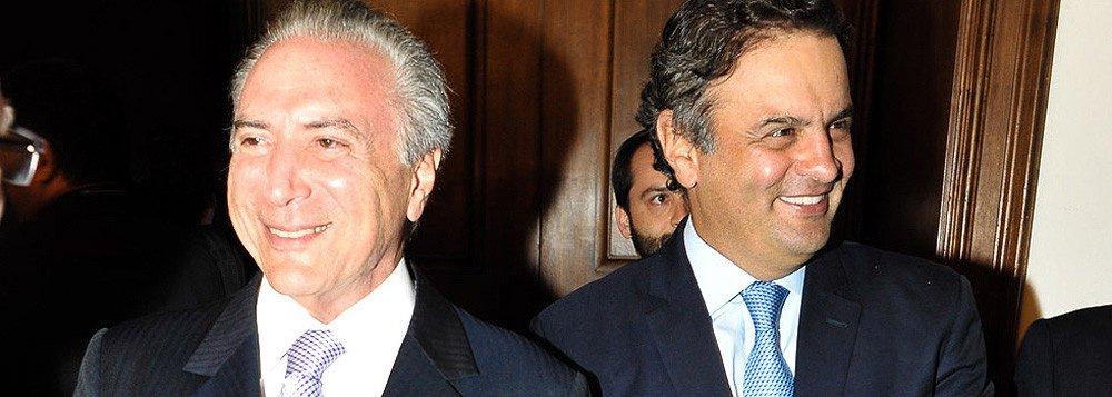 """Em entrevista ao Valor, o senador tucano Aécio Neves culpa o vice-presidente pelo vazamento do discurso em que se projeta presidente da República, com suposta derrota de Dilma Rousseff no processo do impeachment; """"Ele sabe que está tendo uma oportunidade, ou terá eventualmente, se não continuar vazando muitos discursos daqui até o dia da votação... ele terá uma oportunidade que a história está lhe dando"""", disse; Aécio afirmou também que cobrou o fim da reeleição em troca de apoio do PSDB; """"Ele é elegível, mas estabeleceu que ele próprio se disporia a apresentar uma emenda encerrando a reeleição""""; tucano também desqualificou as acusações da Lava Jato contra si, dizendo que são absurdas"""