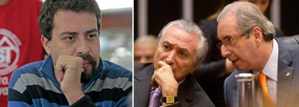 """""""O governo Temer, se vier a ocorrer, vai padecer de um questionamento de legitimidade, de alguém que não foi eleito no voto direto e tem 1% das intenções de voto. Junto com o golpe vem um pacote de devassa nos direitos sociais, trabalhistas. Isso intensificará mobilizações e aprofundamento do conflito social"""", alerta Guilherme Boulos, líder do MTST; ele diz ainda que o Brasil poderá ser tomado por uma onda inédita de greves e ocupações de rua, caso o impeachment venha a ser aprovado por Temer e pelo deputado Eduardo Cunha, a quem chamou de """"rato""""; """"Se um governo quer acabar com o Minha Casa, Minha Vida, extinguindo o subsídio público, como você acha que vai ser a reação das seis milhões de famílias que não têm moradia? Fazer ocupação"""", disse Boulos"""