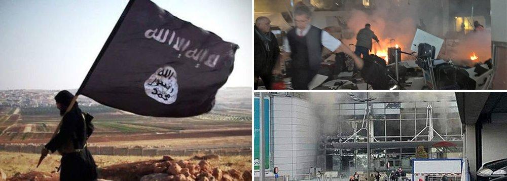 Grupo terrorista Estado Islâmico reivindicou os atentados que mataram cerca de 30 pessoas e deixaram mais de 130 feridos ncapital da Bélgica, Bruxelas, nesta terça-feira (22); duas explosões atingiram o Aeroporto Internacional de Bruxelas e uma terceira bomba explodiu em um trem de metrô na estação de Maelbeek