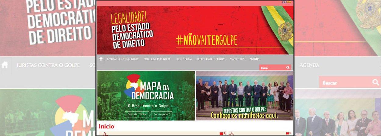 """Site organizado por jornalistas e advogados militantes contra o impeachment da presidente Dilma Rousseff reúne manifestos de diversos movimentos sociais e categorias trabalhistas contra o golpe, traz um """"mapa da democracia"""", com a posição dos parlamentares sobre o assunto, dividido por partidos e estados, e uma agenda, com a programação dos atos em defesa da democracia por todo o País"""